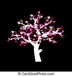 branca, árvore inverno, com, vário, vermelho, e, cor-de-rosa, corações, para, valentine, ou, casório, eps10