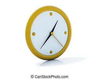 branca, ícone, isolado, amarela, relógio