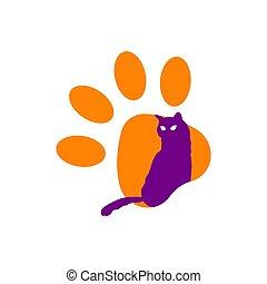 branca, ícone, isolado, fundo, gato