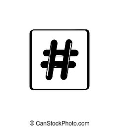branca, ícone, isolado, fundo, hashtag