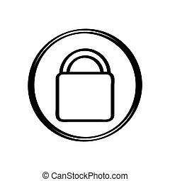 branca, ícone, isolado, fundo, lockpad