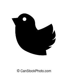 branca, ícone, isolado, fundo, pássaro