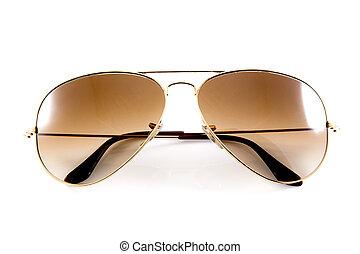 branca, óculos de sol, isolado, fundo