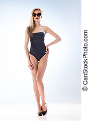 branca, óculos de sol, swimsuit, mulher
