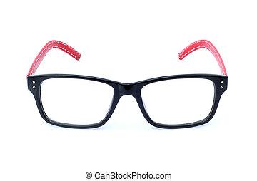 branca, óculos, isolado, bonito