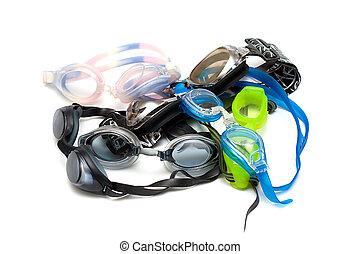 branca, óculos proteção, montão