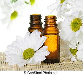 branca, óleo, garrafas, essencial, margarida