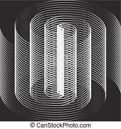 branca, óptico, pretas, espiral, ilusão