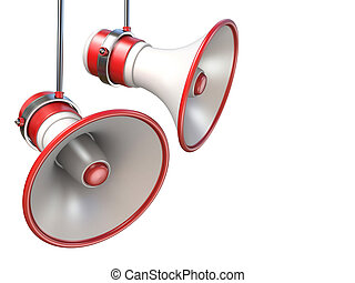 branca, 3d, dois, vermelho, megafones