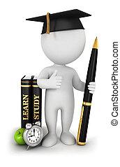 branca, 3d, estudioso, estudante, pessoas