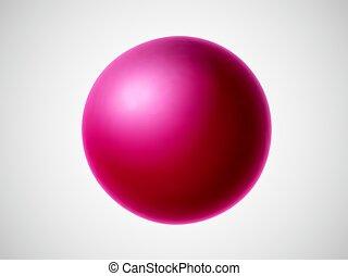 branca, 3d, experiência., vermelho, isolado, bola
