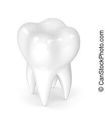 branca, 3d, isolado, render, dente