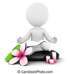 branca, 3d, meditação, pessoas
