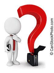 branca, 3d, pergunta, pessoas negócio