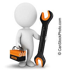 branca, 3d, repairer, pessoas