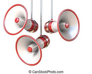 branca, 3d, três, vermelho, megafones