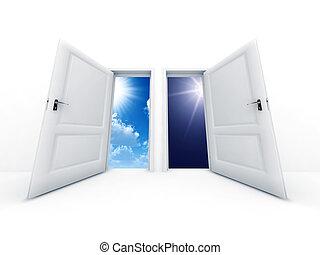 branca, aberta, portas, com, dia noite, observar, em, ao ar livre
