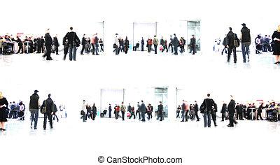 branca, abstract., pessoas, corredor