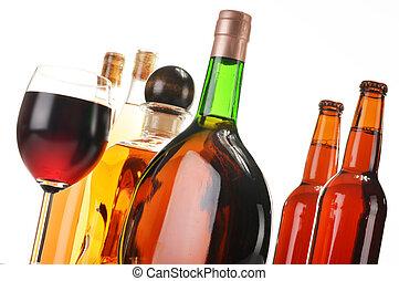 branca, alcoólico, isolado, bebidas, sortido