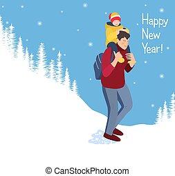 branca, ano, passeios, feliz, forest., ou, filha, costas, nevado, natal., feliz, carrega, baby., family., vetorial, pai, pai, cartão, filho, homem, paisagem, novo, sorrindo, passeio, seu, child.