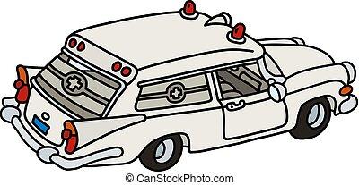 branca, antigas, ambulância