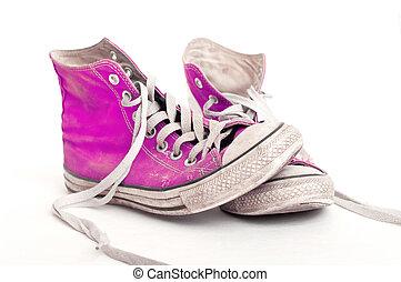 branca, antigas, sapatos, fundo, vermelho