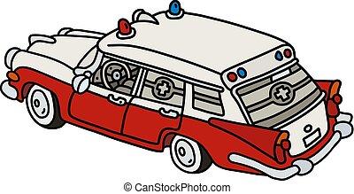 branca, antigas, vermelho, ambulância