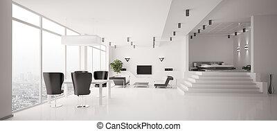 branca, apartamento, interior, panorama, 3d