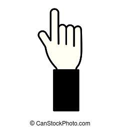 branca, apontar, fundo, mão