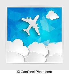 branca, avião, com, papel, nuvens, ligado, a, abstratos, azul, geomã©´ricas