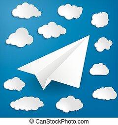 branca, avião papel, com, nuvens, ligado, um, experiência azul