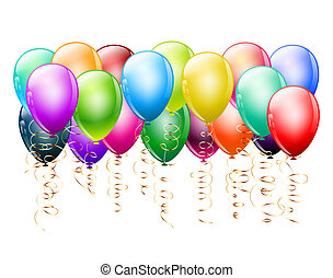 branca, balões, coloridos, grupo