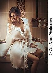 branca, bathrobe, mulher