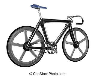 branca, bicicleta, isolado, fundo