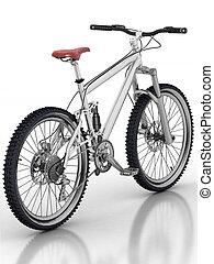 branca, bicicleta, reflexão, fundo, isolado