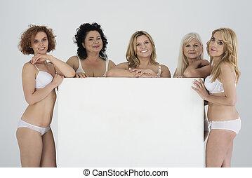 branca, billboard, roupa interior, mulheres