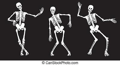 branca, black., esqueletos, dançar