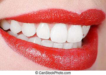 branca, boca, dente