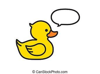 branca, bolha, amarela, fala, pato, isolado