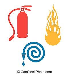branca, bombeiro, isolado, ícones
