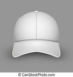branca, boné, basebol, em branco