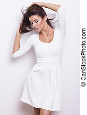 branca, bonito, vestido, mulher