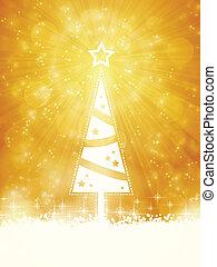 branca, brilhante, árvore natal, ligado, faísca