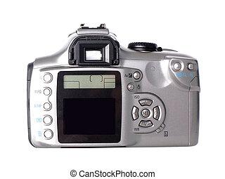 branca, câmera, dslr, isolado