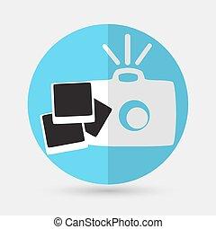 branca, câmera, fundo, ícone