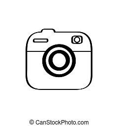 branca, câmera, isolado, fundo, ícone