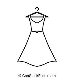 branca, cabide, vestido
