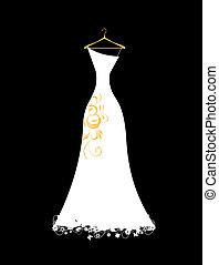 branca, cabides, vestido, casório