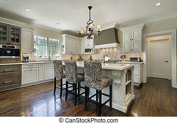 branca, cabinetry, cozinha