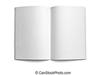 branca, caderno, modelo, em branco
